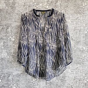 Fei (Anthropologie) Silk Loose Patterned Blouse